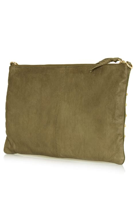 Check Your Luggage With Topshops Laminated Holdall The Bag by Lyst Topshop Studded Suede Clutch Bag In