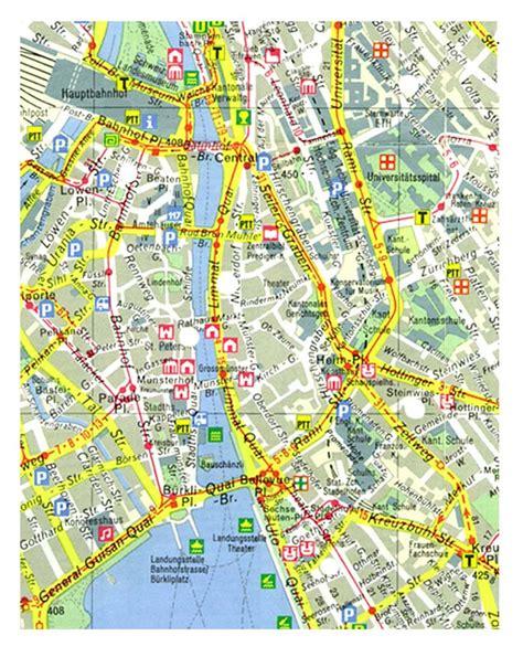 printable map zurich zurich switzerland tourist map zurich mappery
