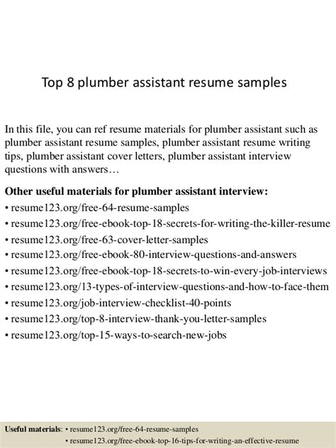 top 8 plumber assistant resume sles