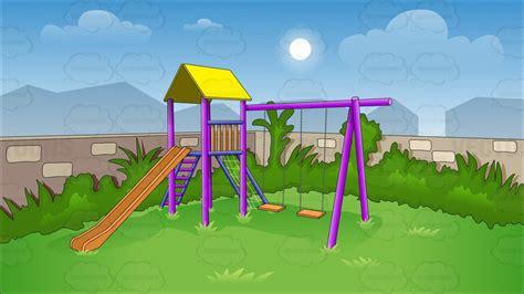 backyard clip art cartoon clipart children s swing and slide in backyard