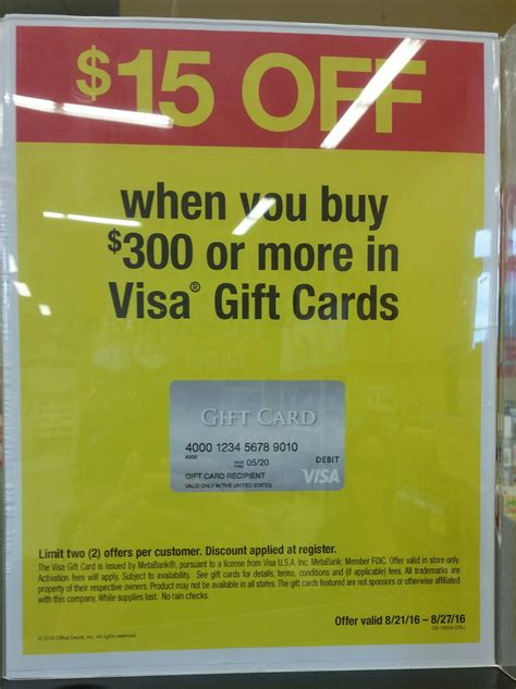 Discount Visa Gift Cards - 15 off 300 purchase of visa gift cards at officemax office depot