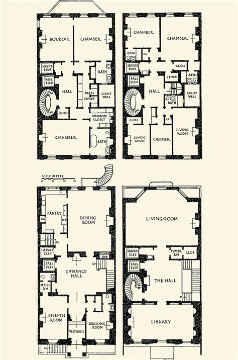 Townhouse Floor Plans by The Gilded Age Era Vincent Astor Townhouse