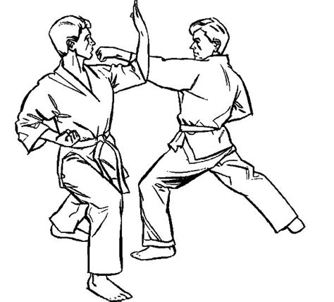 coloring page karate karate athlete kumite coloring pages batch coloring