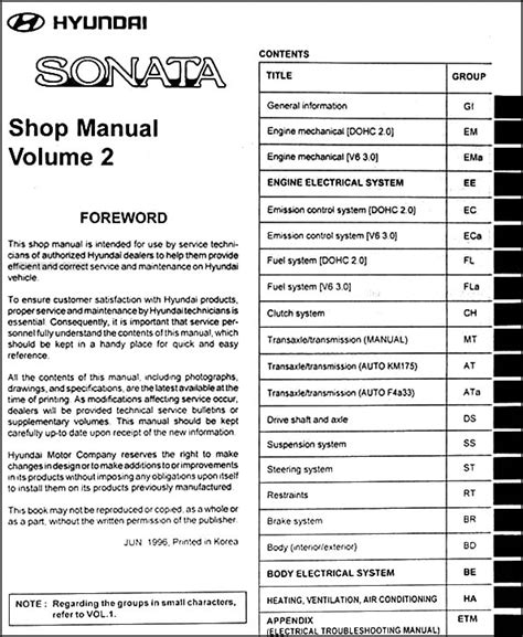 hyundai sonata 1997 service manual auto repair manual forum heavy equipment forums 1997 hyundai sonata repair shop manual original 2 volume set