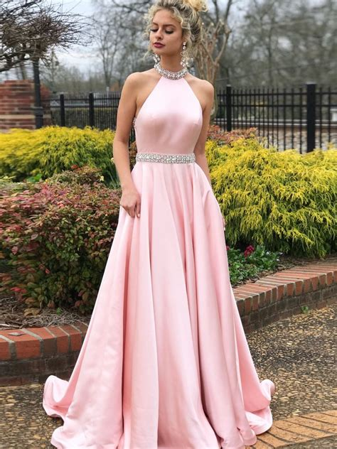 simple   prom dresses pink high neck cheap beading