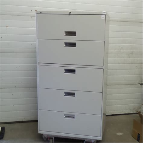 Hon Grey 5 Drawer Lateral File Cabinet Locking Allsold Hon 5 Drawer Lateral File Cabinet