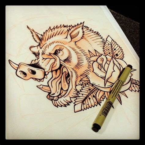 boar tattoo sketch cerca con google tatuaje