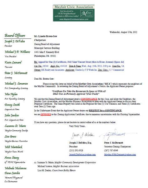 Request Letter For Zoning Certificate Mayfair Civic Association Zoning Request For Continuance Potential Opposition Re 2842 St