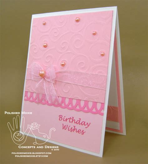 Pink Handmade Cards - handmade girly pink birthday card with pearls there s a