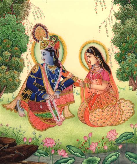 Handmade Paintings Of Radha Krishna - krishna radha spiritual handmade contemporary hindu