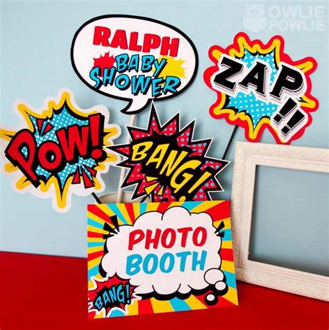 superhero themed events printable photobooth props for a superhero themed baby