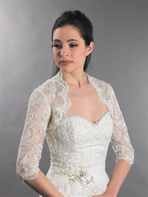 Hochzeit Jacke by 3 4 Sleeve Alencon Lace Bolero With Keyhole Back
