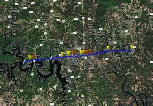 Path of the branson tornado based on the nws survey data branson is