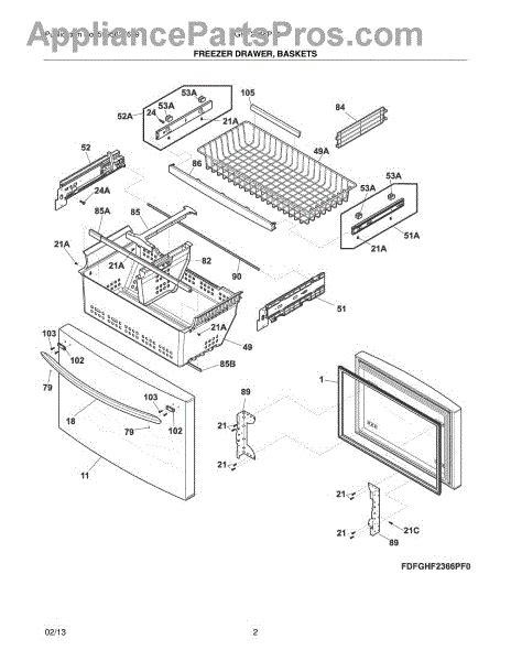 parts for frigidaire fghf2366pf0 freezer drawer baskets