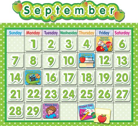 Classroom Calendar Polka Dot School Calendar Bulletin Board Tcr4188