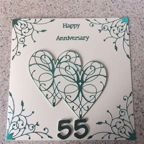 Handmade Emerald Wedding Anniversary card Happy 55th