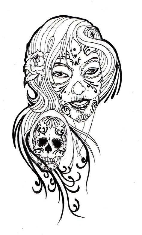 day of the dead coloring pages flowers sugar skull lady 02 by zioman on deviantart