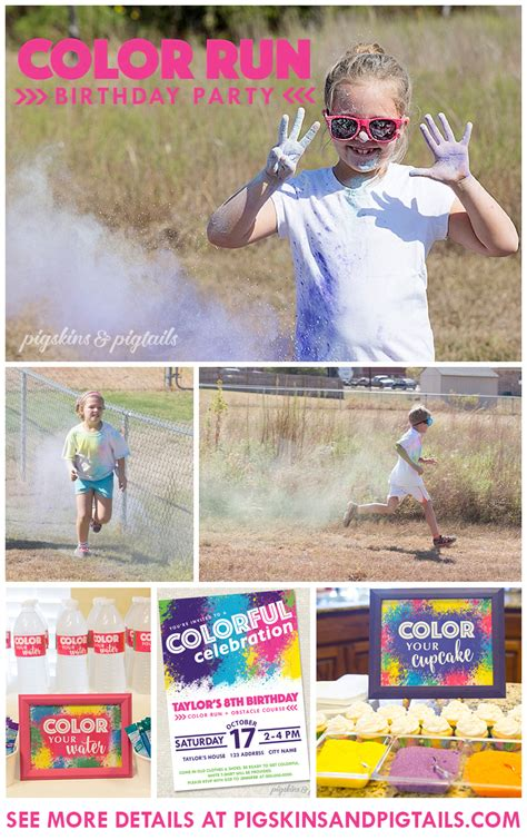 color run ideas color run birthday pigskins pigtails