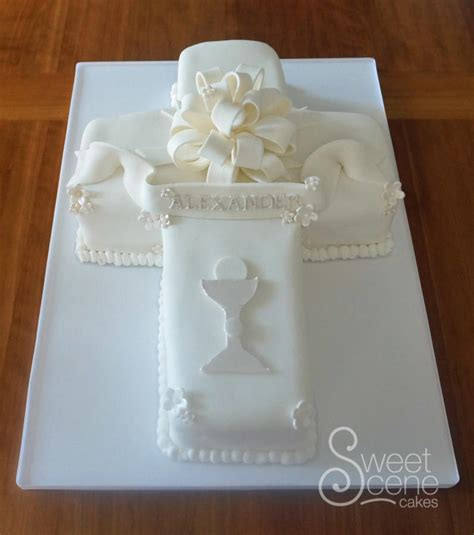 Decorator Icing Cross First Communion Cake Cake By Sweet Scene Cakes