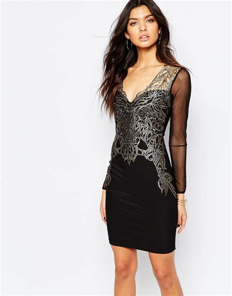 lipsy lace applique dress lyst lipsy keegan lace applique front