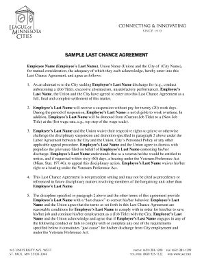 Last Chance Agreement Letter Sle Employment Agreement Sle Forms And Templates Fillable Forms Sles For Pdf Word