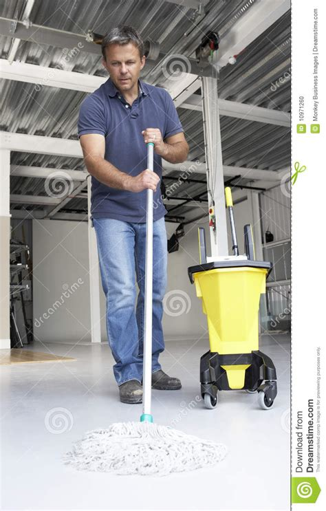 cleaner mopping office floor stock photo image 10971260