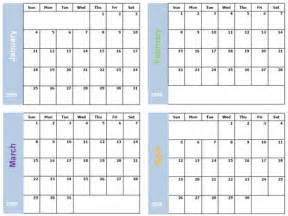 4 Month Calendar Template by Free Printable Calendar Selection 2009 171 Home Weekly
