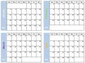 four month calendar template four month per page calendar template autos post