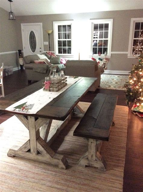 farmhouse table and bench set trestle farmhouse table bench set jacobean top and