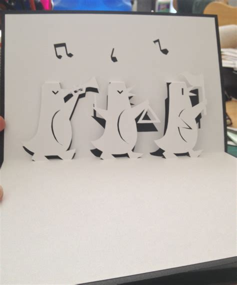 3 Up Cards Template by 3 Penguins Pop Up Card Template From Handmade Papercraft