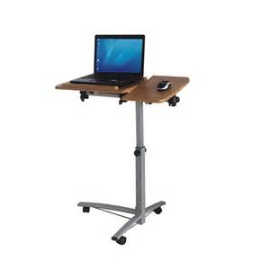 Laptop Desk Stand Portable Standing Wooden Top Laptop Desk With Mouse Stand And Wheels Also Adjustable Height Of