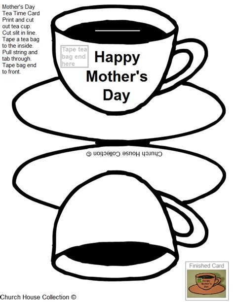 teacup template for card printable s day tea card