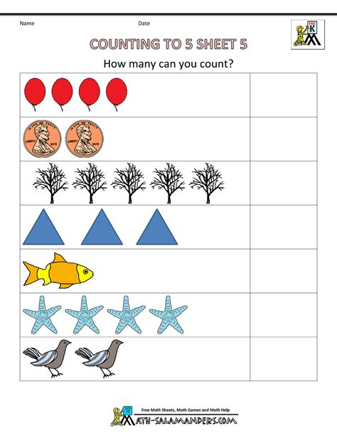 for kindergarten math worksheets preschool counting to 5 5 math