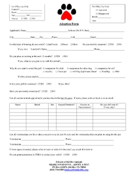 printable animal adoption forms dog adoption form fill online printable fillable