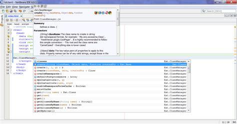 tutorial netbeans javascript extjs tutorials extjs code completion intellisense in