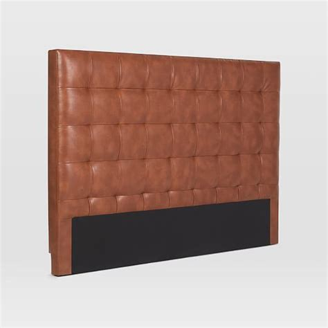 faux leather tufted headboard grid tufted headboard faux leather west elm