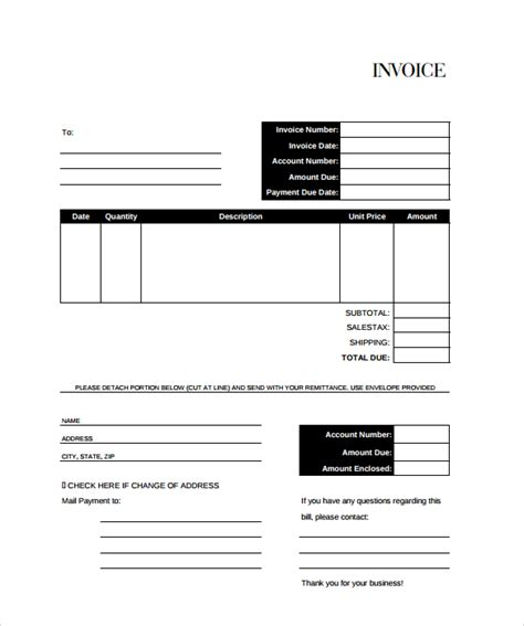 bill invoice template free billing invoice template 8 free sles exles format