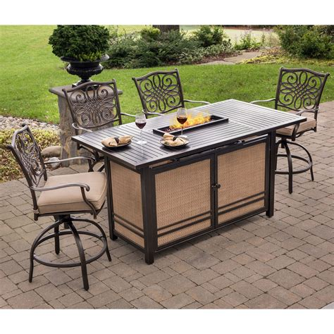 high top patio set with pit hanover traditions 5 high dining set in with 4