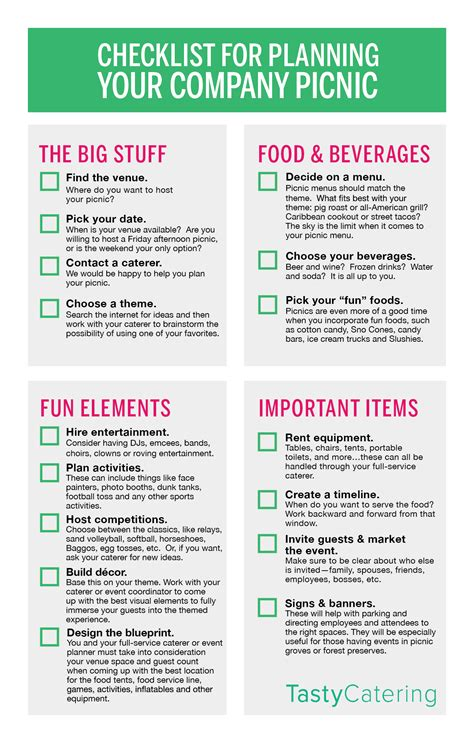 Checklist Of Things You Need For A Picnic by Checklist For Planning Your Company Picnic Tasty