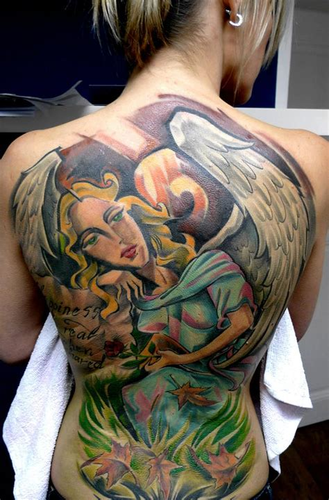 angel tattoo traditional black and grey angel tattoo on full back