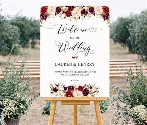 Printable Wedding Welcome Sign Templates Floral Wedding Wedding Shoes Sign Template