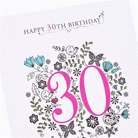 30th Birthday Cards 30th Birthday Card Floral Print Only 99p