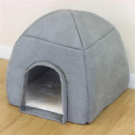 dog igloo bed soft grey warm igloo bed for pet cat kitten dog puppy