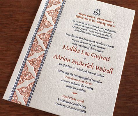 3 new indian wedding card designs invitations with hindu inspiration letterpress