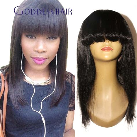 chinese bang wigs for black women in stock 100 brazilian human hair none lace wigs with