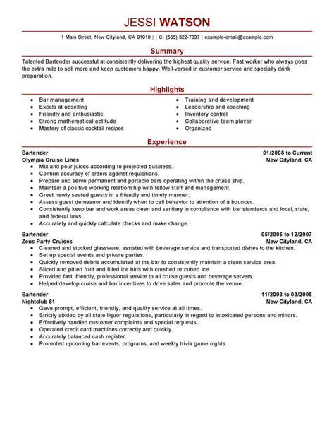 Trendy Bartender Resume Job Description Tomyumtumweb Com Trendy Resume Templates