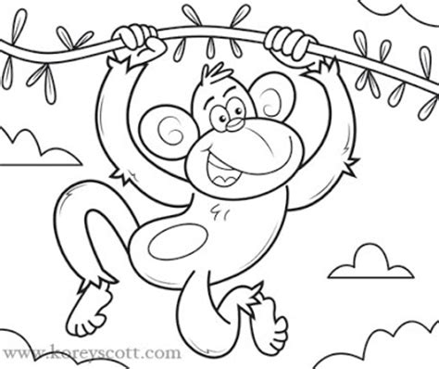 Outline Of A Monkey by Korey Illustration April 2011