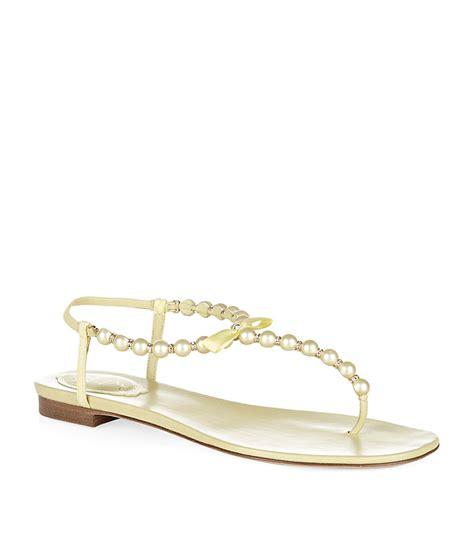 rene caovilla pearl sandals rene caovilla pearl sandals in yellow pearl lyst