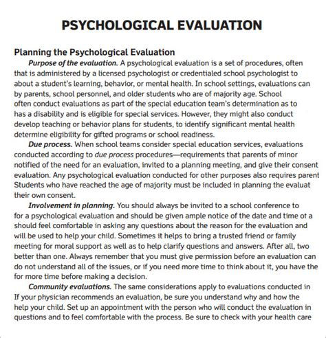 Psychiatric Evaluation Letter Exles Psychological Evaluation Template 7 Free Free Documents In Pdf