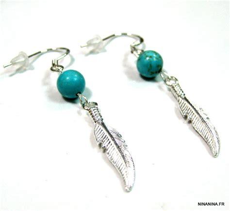 ninanina boucles plume argent massif et turquoise